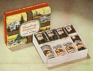 "The ""Indian Harvest"" gift pack, marketed as ""A gift combination of 8 rare and tangy cranberry delicacies worthy of presentation to the most discriminating people."""